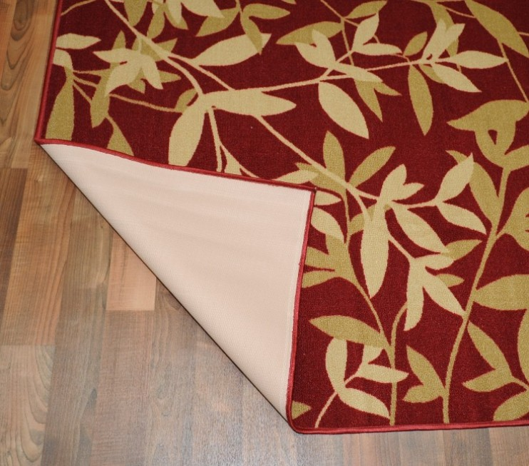 Bamboo Rug Runner: NEW BAMBOO RED FLORAL DESIGN RUBBER BACKED NON-SLIP RUNNER