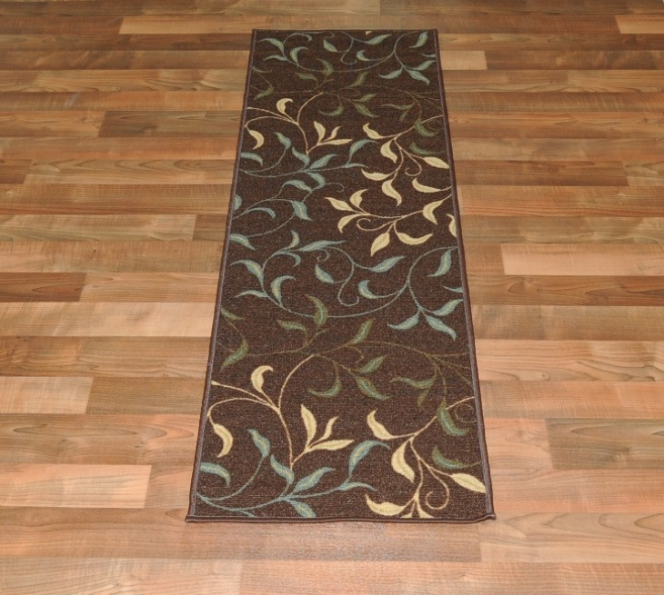 new leafs chocolate floral design rubber backed non slip runner rug carpet ebay. Black Bedroom Furniture Sets. Home Design Ideas