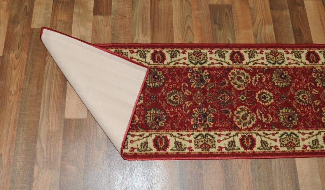 New Tabriz Red Floral Design Rubber Backed Durable Runner