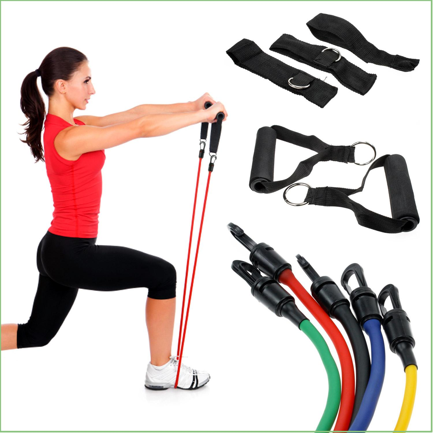 Workout Bands Com: RESISTANCE BANDS 11 PCS FITNESS EXERCISE LATEX TUBE X 90 P