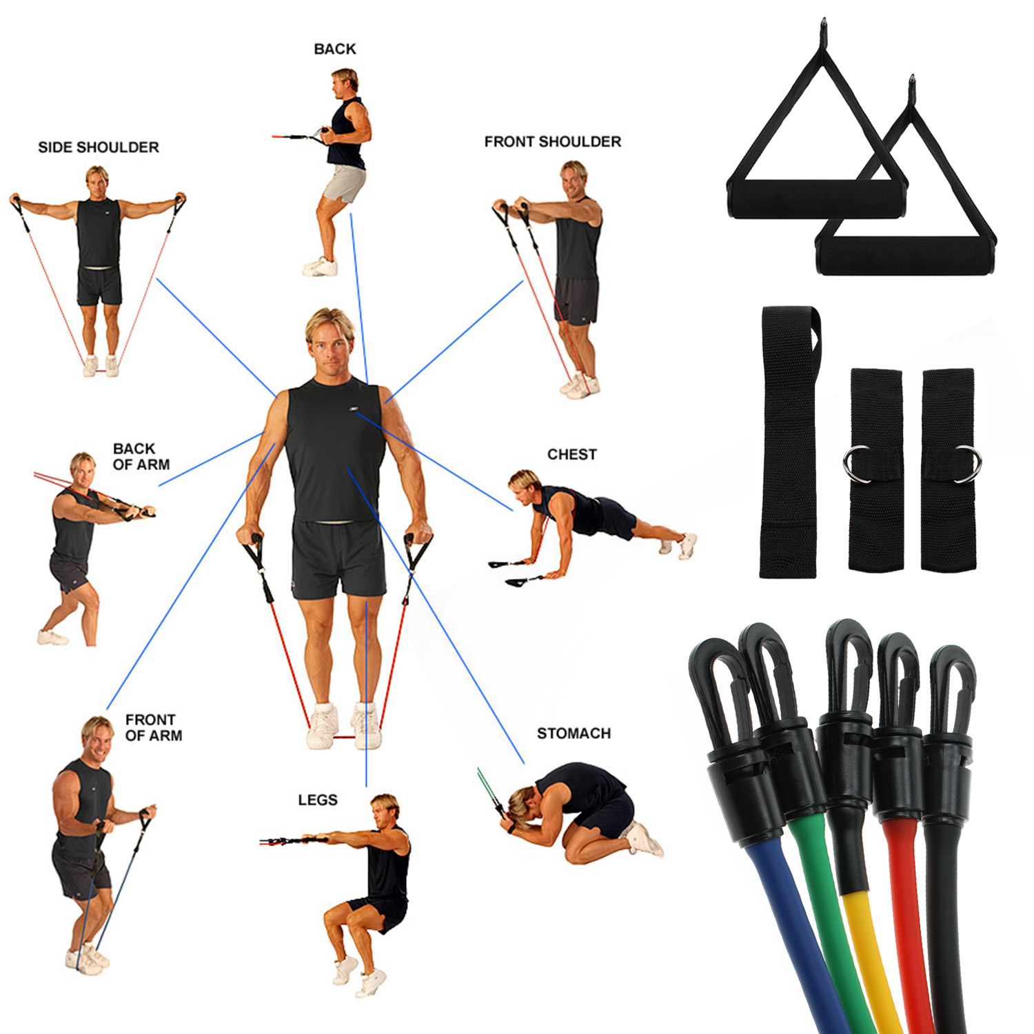 Workout Bands Com: 5 Resistance Workout Bands For P90X Exercise& Slim In 6